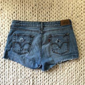 Levi's Distressed Ripped Denim Jean Shorts